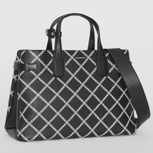 🔥NWT Burberry Banner Link Print Leather Tote